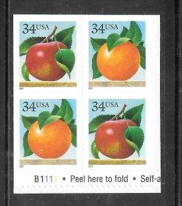 #3491-92 MNH Apple & Orange, Plate Block of 4
