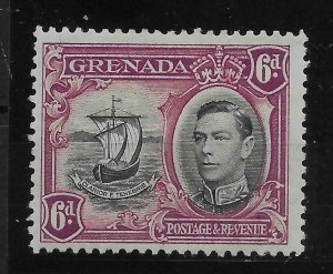 GRENADA SG159b 1938 6d BLACK & PURPLE LINE THROUGH SAIL VAR MTD MINT