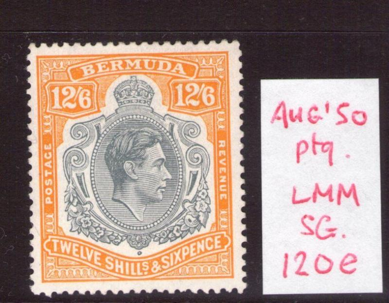 Bermuda Aug. 1950 12/6  SG120e Superb lightly hinged condition.