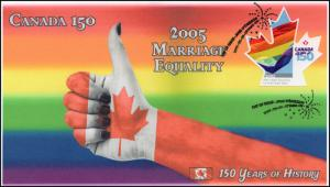 CA17-033, 2017, Canada 150, 2005 Marriage Equality, Day of Issue, FDC
