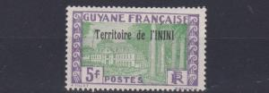 FRENCH COLONIES  ININI  1932 - 40    5F YELLOW GREEN & VIOLET   MH
