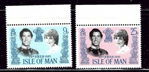 Isle of Man 198-99 MNH 1981 Prince Charles Wedding    (ap3001)