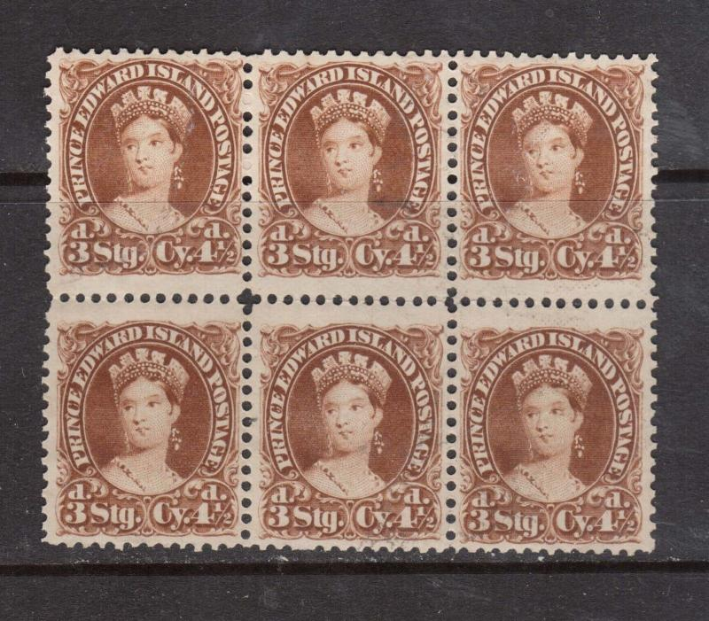 Prince Edward Island #10ii VF Mint Wide Gutter Block Of Six