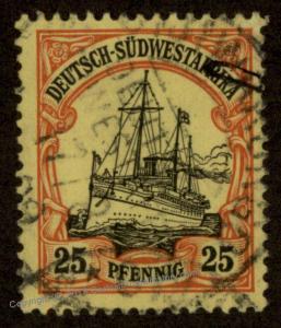 Germany 1909 SW Africa OTJIWARONGO DSWA Mi Unwmk Yacht 89824