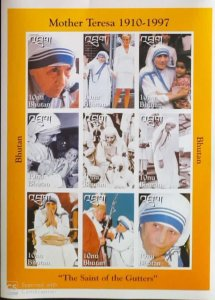 BHUTAN MOTHER TERESA SHEETLET OF 9 PERF & IMPERF BOTH MNH PRISTINE