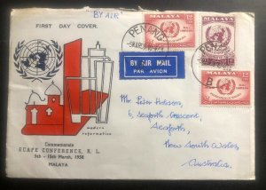 1958 Penang Malaya First Day Cover FDC To Seaforth Australia ECAFE Conference