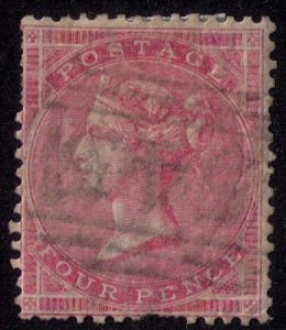 Great Britain Sc #26 Used 4p RoseGlazed Paper(Sg 66b) F-VF