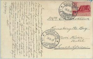 77625 - NORWAY - Postal History - Mi # 198 on FDC POSTCARD to SOUTH AFRICA  1939