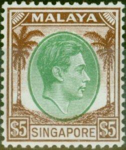 Singapore 1948 $5 Green & Brown SG15 V.F MNH
