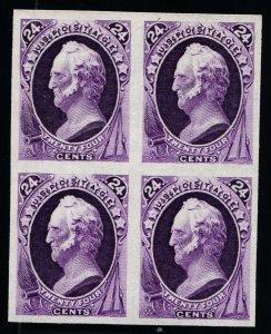Scott #164P3  - 24c - Violet - Plate Proof on India - Block of 4 - 1873 Scarce!