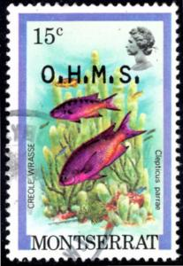 Montserrat, #O47. Creole Wrasse. Official. EF Used. Payment in US Dollars