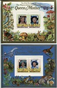 MONTSERRAT #563 #564 Royal Queen Mother 85th Birthday Souvenir Sheets Mint NH