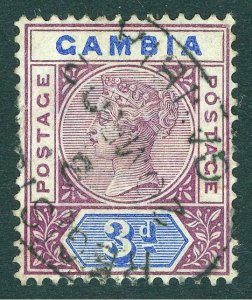 Gambia 1902 3d Deep Purple & Ultramarine  SG 41b, Scott 24var, VFU Cat£100($157)