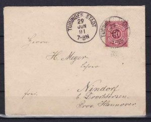 wurttemburg 1891 to hannover stamps  cover ref r13900