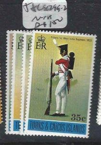 TURKS & CAICOS  (P0408B) SOLDIER  SC 299-302  MNH