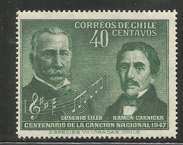 CHILE  249  MINT HINGED,  CENTENARY OF NATIONAL ANTHEM