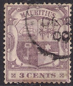 Mauritius 1895 - 99 QV 3ct Dull & Deep Purple used SG 129 ( G599 )