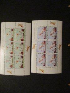 1969 New Zealand S# B77a-78a Cricket Mini Stamp Sheets Pair MNH OG vf+