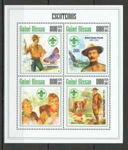 ST1273 2013 GUINEA-BISSAU SCOUTS BUTTERFLIES BIRDS 1KB MNH STAMPS