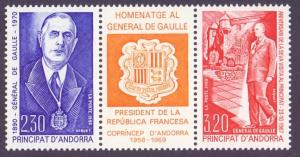 Andorra French 1990 MNH Charles de Gaulle se-tenant  complete
