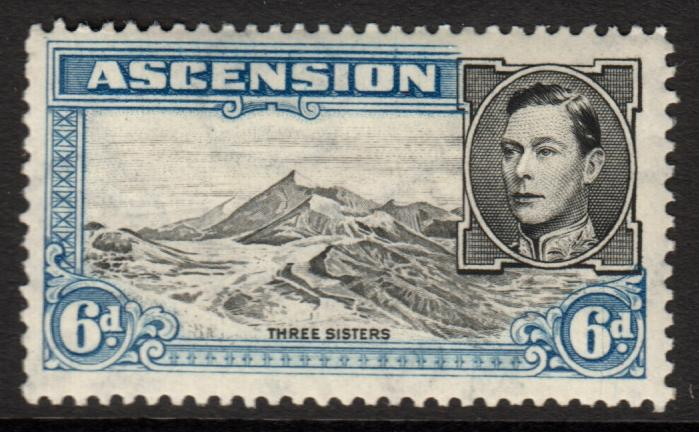 Ascension KGVI 1938 6d Black Blue SG43b Mint Lightly Hinged