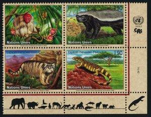 United Nations - Geneva 389a BR Block MNH Monkey, Lizard, Honey Badger, manul