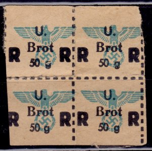 Germany, Third Reich, WWII, Food Ration Coupon, 4x 50g Brot/Bread