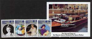 Seychelles - Zil Elwannyen Sesel 101-5 MNH Queen Mother 85th Birthday, Boat