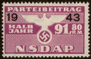 Germany NSDAP Party 1943 91.80RM Dues Revenue Membership Stamp 96224
