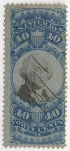 0995 U.S. Revenue Scott R114, 40-cent blue & black, 1871 manuscript cancel