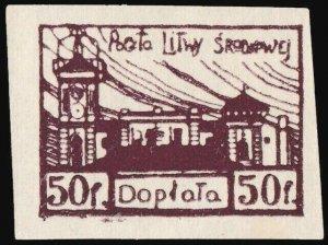 CENTRAL LITHUANIA / MITTELLITAUEN - 1921 Mi.P.1.B 50f Mint* - ref.916j