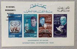 Qatar 1966 New Currency JFK UN MS. Bends. Scott 118 var. Mi BL 12A CV €150.00