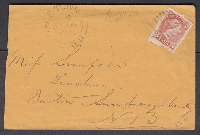 NEW BRUNSWICK SPLIT RING TOWN CANCEL COVER GAGE TOWN