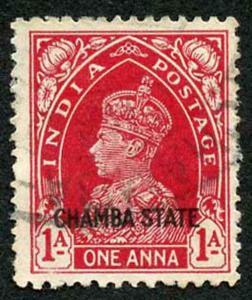 CHAMBA STATE SG85 KGVI 1a carmine Fine Used (genuine postmark)