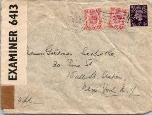 Kleinwort & Sons London UK > Goldman Sachs NY censored 1941 perf stamps