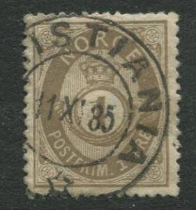 Norway - Scott 22 - Post Horn Definitive - 1877 - Used- Single 1s Stamp