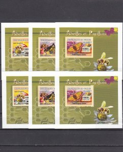 Guinea, 2007 issue. Bees & Butterflies, Perf & Imperf on 6 Deluxe s/sheets. ^