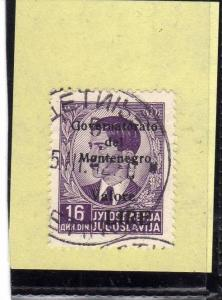 MONTENEGRO 1942 SOPRASTAMPA NERA VALORE LIRE 16D TIMBRATO