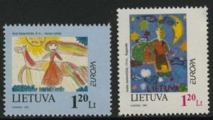 Lithuania 568-9 MNH EUROPA, Art, Children's Drawings