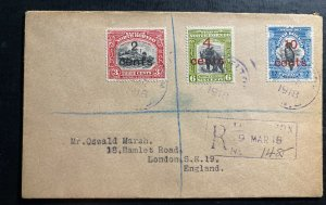 1918 Jesselton North Borneo Registered Cover To London England SG#186-8