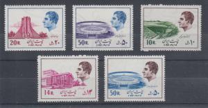 Iran Sc 1829/1841 MNH. 1974-1976 definitives, 5 different, F-VF