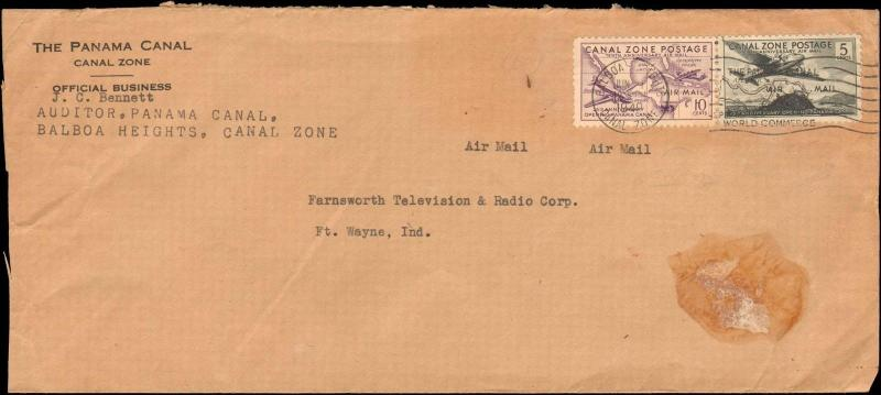 1940 CANAL ZONE PANAMA CANAL OFFICIAL BUSINESS MULTI AIRS TO UNITED STATES