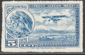 MEXICO C20, 5cts Early Air Mail Plane and coat of arms MINT, NH. F-VF.