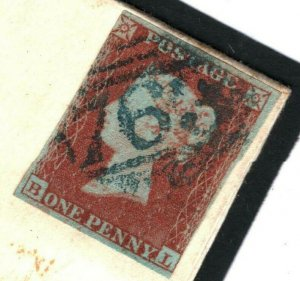 GB WALES Cover Swansea *763*BLUE NUMERAL 1d Red Imperf 1852{samwells}89a.1