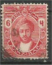 ZANZIBAR, 1913, used 6c, with Serifs Harub Scott 122