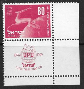 Israel 32b  MNH W/Tabs 75th anniversary UPU Running Stag 1950 Issue