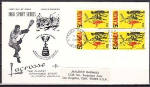Canada, Scott cat. 483. Sport of Lacrosse. Block of 4. First day cover. ^