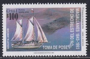 Chile # 1072, Sailing Ship, NH, 1/2 Cat.
