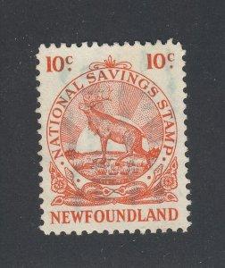 Newfoundland National Savings Revenue Stamp #NFW2-10c Used Guide Value = $75.00