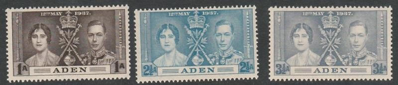 #13-15 Aden Coronation Issue Mint NH